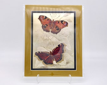 Vintage Butterfly Pair Insect Foil Etching Art Print Shiny Antique Gold Metallic Black Double Mat Ready to Frame in 8x10 Image 7.5 x 5.5