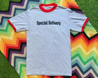 Vintage 90s Deadstock Red Gray Black Special Delivery Ringer Crewneck Heat Transfer Graphic Novelty Thick Cotton Short Sleeve T-Shirt M L