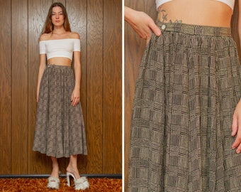 Vintage 80s Black Beige Plaid Striped Silk Ruffled Pleated High Waist Circle Full Ankle Length Button Zip Double Pocket Pin Up Maxi Skirt S