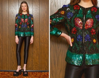 Vintage 80s 90s Scala Silk Black Rainbow Green Blue Red Yellow Floral Flower Sequin Sequined Beaded Blouse Top Jacket Blazer Dress Coat XS S
