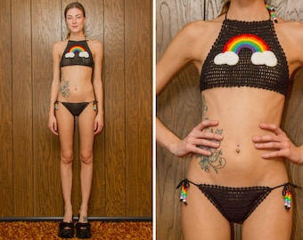 Black Y2K Crochet Beaded Knit Rainbow Halter Top Side Tie Fishnet Sheer Mesh Kawaii Pride Festival Sexy Low Cut Swimsuit Cotton Bikini XS S