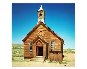 Print Only - 1800 Bodie Historic Park Ghost Town Abandoned California Film Church Christian Color Architecture Photography Photograph Square