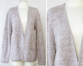 Vintage 90s Adele Joyce Beige Taupe Oatmeal Textured Double Pocket Long Sleeve Split Front Sweater Granny Wool Acrylic Cardigan Jacket M L