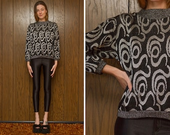 Vintage 80s Metallic Silver Swirl Graphic Geometric Pullover Glitter Mock High Neck Black Grandma Holiday New Years Lightweight Sweater S M