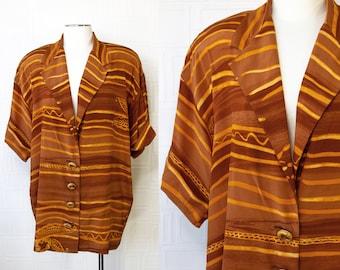 Vintage 90s Orange SETA Silk Island Leaf Striped Lightweight Short Sleeve Luau Button Blouse Jacket Shoulder Pad Oversized Top Plus Size 14