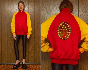Vintage 80s Red Yellow Black Nylon Peacock Silk Embroidered Velvet Back Patch Snap Button Color Block Baseball Lined Windbreaker Jacket Coat