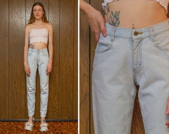 Vintage 80s Classic Lee Ice Blue Light Stonewashed Distressed High Waist Cotton Skinny Tapered Denim Jean Slim Pant 3 5 Long Length 24 x 32