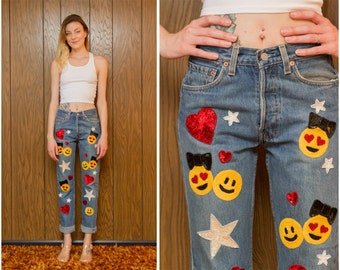 Vintage 80s 90s 501 Classic Distressed Emoji Smile Smiley Face Love Levi's Levis Sequin Star Heart Patch Denim Jeans Button Fly 26 27