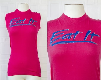 Vintage 80s NEW Hanes Cotton Magenta Pink Blue Eat It Weird Al Graphic Heat Press Slim Fit Muscle T-Shirt Sleeveless Top Unisex fits XS S