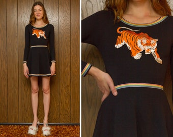 CFS - Black Rainbow Striped Trim Shiny Embroidered Orange Mascot Pouncing Tiger White Silver A Line Skater Mini Long Sleeve Dress XS S M L