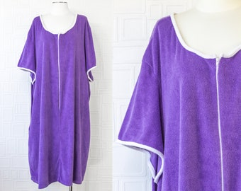 Vintage 90s Purple Granada Plush Terrycloth Textured Towel Pool Cover Up Short Sleeve Zip Front MuMu Kaftan Knee Length Dress Plus Size 4X