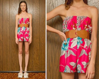 Vintage RARE 70s 80s Tropical Pink White Teal Floral Flower Cover Up Tube Top Off the Shoulder Belted Romper Jumpsuit Onesie Shorts S M