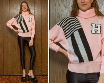 Vintage 80s White Black Pink Letterman High School H Turtleneck Striped Dolman Long Sleeve Chenille 3-D Embroidered Patch Ski Cheer Sweater