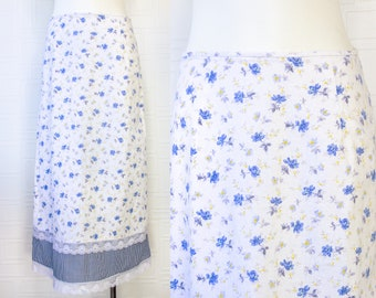 Vintage 90s Y2K Jessica McClintock Gunne Sax White Blue Yellow Plaid Floral Flower Print Mid Calf Ankle Length Maxi Peasant Skirt 11 / 12 L