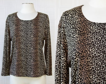 Vintage 90s Y2K Susan Lawerence Leopard Cheetah Beige Tan Brown Black Long Sleeve Scoop Neck Nylon Stretch Dress Blouse Shirt Top S M L XL