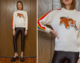 Vintage 70s 80s White Rainbow Raglan Embroidered Orange Pouncing Tiger Silver Metallic Silk Velvet Patch Striped Long Sleeve Ski Sweater S M
