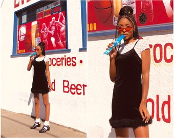 NEW 90s Y2K Vibes Black Stretch Poly Velvet Adjustable Spaghetti Strap Scoop Neck Sleeveless Feather Boa Trim Babydoll Slip Mini Dress S M L