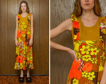 Vintage 70s Brown Rust Orange Yellow Black Bohemian Hippie Flower Floral Print Full Length Tank Sleeveless Bib Sheath Ruffle Hem Long Dress