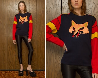Vintage 70s Navy Blue Red Yellow Gold Black Striped Velvet Metallic Orange Embroidered Fox Foxy Patch Long Sleeve Crewneck Ski Sweater Ski M
