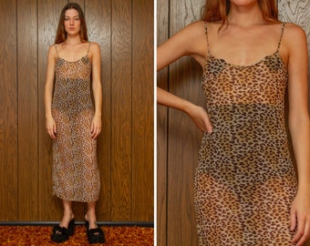 Vintage 90s Y2K Sheer Mesh Leopard Tan Brown Cheetah Animal Print Strappy Thin Adjustable Strap Sheath Full Length Slip Dress fits S M L