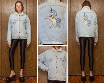 Vintage 80s Pastel Blue Pink Levis Sherpa Lined Punch Needle Chenille Embroidered Unicorn Back Patch Denim Jean Jacket Snap Button Coat M L
