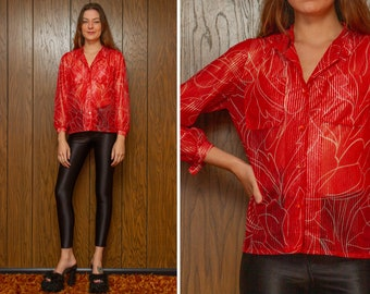 Vintage 60s 70s Red Silver Metallic Tinsel Lurex Pin Stripe Abstract Swirl Shiny Button High Neck Long Sleeve Sheer Pocket Blouse Top S M