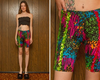 Vintage 90s Y2K Whirl A Weve Dance Shiny Black Neon Rainbow Splatter Paint Print High Waist Sequined Nylon Spandex Recital Biker Shorts S M