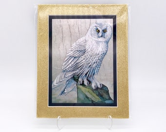 Vintage Snow White Barn Owl Winter Bird Damaged Foil Etching Art Print Gold Glitter Black Double Mat Ready to Frame in 8x10 Image 7.5 x 5.5