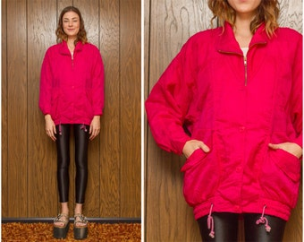 Vintage 90s Y2K Oversized Hip Hop Neon Nylon Ski Windbreaker Button Up Drawstring Collared Pocket Hot Pink Zip Up Pink Elastic Jacket Coat L