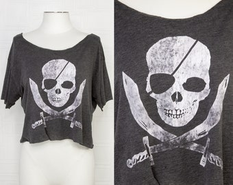 Vintage Thin Soft Dark Gray Distressed Lightweight Pirate Skull Crossbones Eye Patch Pirates Crop Top Boat Neck Short Sleeve T-Shirt S M L