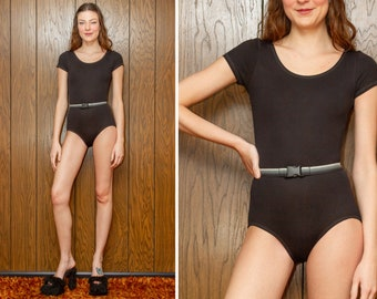 Vintage 90s Shiny Black Gray Striped Belted Buckled Buckle Scoop Neck Thick Stretch Nylon Short Sleeve Dance Aerobic Leotard Bodysuit S