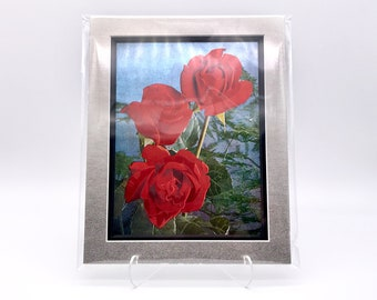 Vintage 80s 90s Red Rose Roses Flowers Foil Etching Art Print Shiny Metallic Black Silver Double Mat Ready to Frame in 8x10 Image 7.5 x 5.5