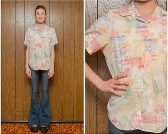 Vintage 80s 90s Pastel Peach Blue Yellow Rainbow Swirl Shapes Vapor Vaporwave Chill Wave Button Short Sleeve Lightweight Pocket Shirt Top M