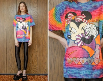 Vintage 90s Rainbow Tie Dye Minnie Mouse Walt Disney Company Bow Striped Stripe Black Silver Glitter Metallic Short Sleeve T-Shirt Top M L