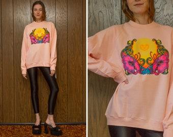 Vintage 80s NEW Deadstock Jerzees Peach Pink Orange Sunset Hibiscus Roach 1974 Graphic Heat Press Raglan Crewneck Long Sleeve Sweatshirt XL