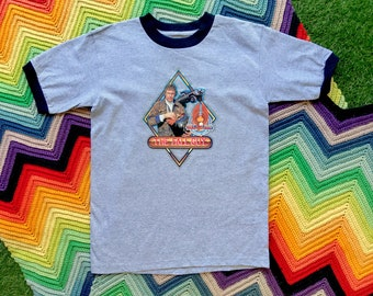 Vintage 90s Unisex Gray Black Glitter Stuntman The Fall Guy Ringer Crewneck Heat Transfer Graphic Novelty Cotton Short Sleeve T-Shirt S M