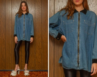 Vintage 90s Black Velvet Collar Cuffs Venezia Jeans Blue Denim Jean Long Sleeve Collared Zip Double Pocket Oversized Blouse Top Shirt L XL
