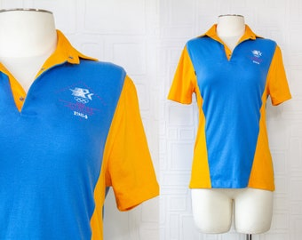 Vintage NEW 1984 Los Angeles Olympics Levis Blue Gold Yellow Color Block XXIII Olympiad Short Sleeve Official Staff Uniform Shirt Top S M