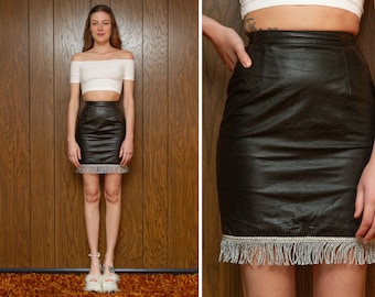 Vintage 90s Tannery West Black Leather Shiny Silver Bouillon Fringe Fringed Embroidered Metallic Above The Knee High Waist Mini Skirt XS 0 2