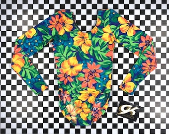 Vintage 90s Neon Rainbow Green Hibiscus Tropical Flower Floral Print Elite Sport Nylon Long Sleeve Scoop Aerobic Dance Leotard Bodysuit XS S