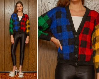 Vintage 90s RARE Black Primary Colors Color Block Plaid Square Knit Rainbow Red Green Blue Yellow Button 3/4 Sleeve Sweater Cardigan S M L