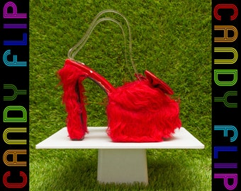 Vintage 90s Bright Red Glitter Bow Faux Fur Fuzzy Mega Platform Sexy Christmas Holiday Furry Chunky Mule Sandal Cuban Heel Women's Shoes 7