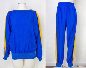 Vintage 90s Y2K Liz Wear Claiborne Blue Yellow Red Striped Nylon Windbreaker Lined High Waist Pants Sweater 2 Piece Excersize Jogging Set M