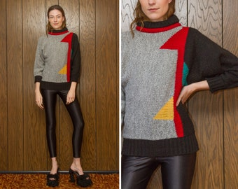 Vintage 80s Primary Color Black Red Yellow Green Gray Color Block Graphic Geometric Shapes Abstract Thick Mock Turtleneck High Neck Sweater