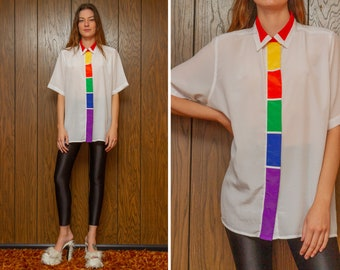 Vintage 80s Worthington Lightweight Sheer White Rainbow Striped Color Block Collared Button Short Sleeve Tunic Shirt Blouse Top Plus 22W XL
