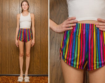 Vintage 70s 80s Body Trend Miami Florida Blue Red Yellow Green Purple Black Stripe Striped Rainbow Running Aerobic Exercise Shorts S M