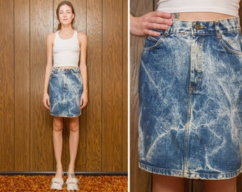 Vintage 80s 90s Acid Wash Light Blue Abstract Punk Marbled Grunge Festival Country Western Button Up Denim Jean Mini A Line Skirt S M