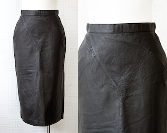 Vintage 80s Genuine Black Shiny Leather Lined High Waist Back Zip Button Fitted Pin Up Rocker Below Knee Length Wiggle Pencil Skirt 6 S M