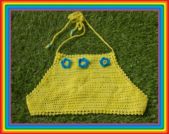Vintage Y2K 90s Bright Yellow Turquoise Teal Blue Festival Crochet Sheer Mesh Beaded 3-D Flower Cotton Crop Halter Top Rave One Size S M L