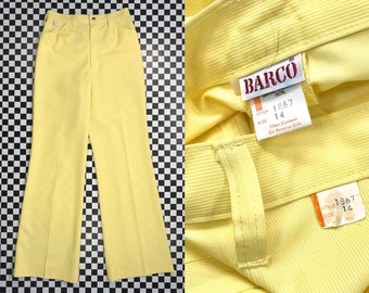 Vintage 70s Bright Yellow Textured High Waist Snap Button Straight Bootcut Wide Leg Trouser Career Zip Up Front Pocket Work Pants S M 14 26